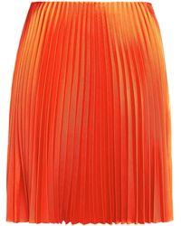 Theory Pleated Satin-twill Mini Skirt - Orange