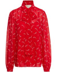 MICHAEL Michael Kors Pussy-bow Printed Georgette Shirt - Red