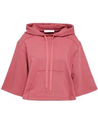 See By Chloé See By Chloé Cropped French Cotton-terry Hoodie Antique Rose - Multicolour
