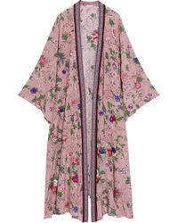 Anjuna Roberta Jacquard-trimmed Embellished Floral-print Silk Crepe De Chine Kimono Antique Rose - Pink