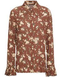 Michael Kors Fluted Floral-print Silk-georgette Shirt - Brown