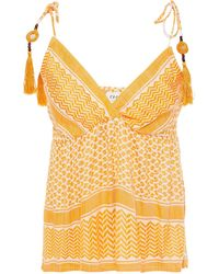 Cecilie Copenhagen Cecilie Copenhagen Mary Embellished Shirred Jacquard Top - Yellow