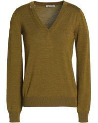 Nina Ricci - Embellished Wool And Silk-blend Jumper Army Green - Lyst
