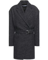 IRO Fernand Belted Brushed-denim Coat Dark Denim - Multicolour