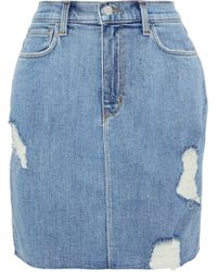 L'Agence Uela Distressed Denim Mini Skirt Light Denim - Blue
