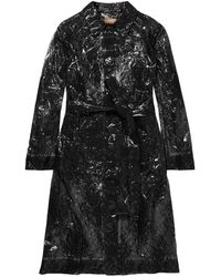 Christopher Kane Lace And Pvc Trench Coat - Black