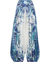 Zimmermann Glassy haremshose aus bedrucktem seiden-twill mit falten - Blau