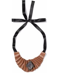 Marni - Satin, Coated Faux Leather And Stone Necklace Light Brown - Lyst