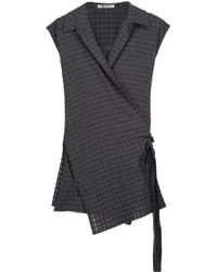 T By Alexander Wang - Wrap-effect Checked Gauze Top - Lyst