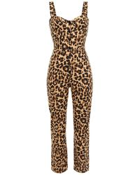 Reformation Leopard-print Drill Jumpsuit Animal Print - Multicolour