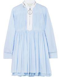 Cedric Charlier - Pintucked Striped Cotton-blend Poplin Mini Dress - Lyst