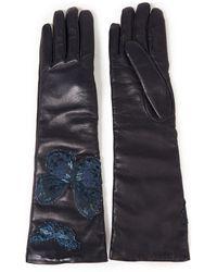 Valentino Garavani Appliquéd Leather Gloves Navy - Blue