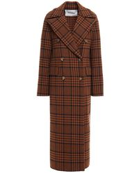 Nanushka Double-breasted Checked Wool-blend Felt Coat - Brown