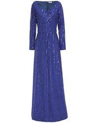 Nina Ricci Sequin-embellished Crepe Gown Größe 34 - Blue