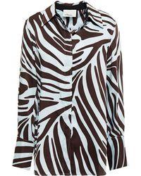 3.1 Phillip Lim Zebra-print Silk-twill Shirt Sky Blue