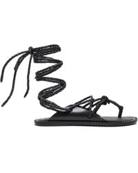 Ann Demeulemeester Braided Leather Sandals - Black