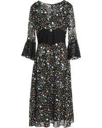 Anna Sui - Panelled Printed Lace And Chiffon Midi Dress - Lyst