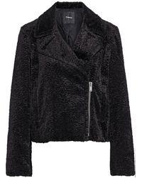 Theory Faux Fur Biker Jacket - Black