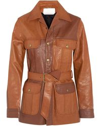 Chloé Chloé Belted Leather Jacket Tan - Brown