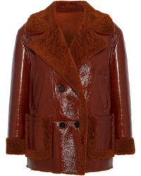 Yves Salomon - Double-breasted Shearling-trimmed Textured Patent-leather Jacket - Lyst