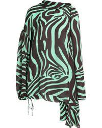 Emilio Pucci - Draped Printed Silk-crepe Blouse - Lyst