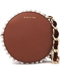 Mother Of Pearl Rena Small Faux Pearl-embellished Pebbled-leather Shoulder Bag Brown