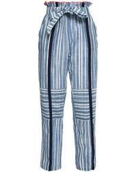 lemlem Belted Striped Cotton-gauze Straight-leg Trousers Light Blue