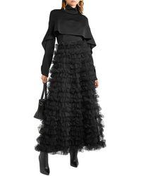 Valentino Gestufter maxirock aus chiffon mit rüschen - Schwarz