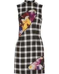 Christopher Kane - Mesh And Satin-paneled Gingham Wool-blend Mini Dress - Lyst