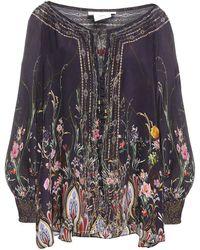 Camilla Lounge Hour Crystal-embellished Printed Silk Crepe De Chine Top Dark Purple