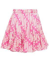RHODE Hilary Ruffled Printed Cotton-voile Mini Skirt - Pink