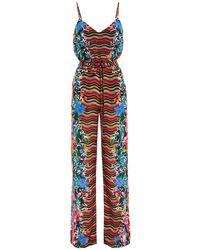 Saloni Loretta Belted Printed Silk Crepe De Chine Wide-leg Jumpsuit Multicolour
