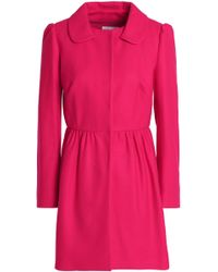 RED Valentino Woman Pleated Wool-blend Coat Fuchsia - Pink