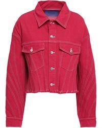 Mugler Frayed Denim Jacket Red