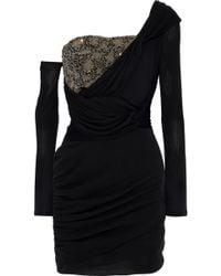 Roberto Cavalli - Woman One-shoulder Bead-embellished Ruched Silk Mini Dress Black - Lyst