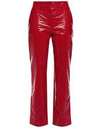 MSGM Croc-effect Vinyl Slim-leg Trousers Red