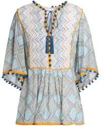 Talitha - Tasselled Printed Silk-georgette Peplum Top - Lyst
