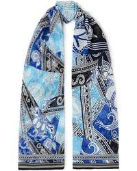 Diane von Furstenberg Shiloh Printed Silk-chiffon Scarf - Blue