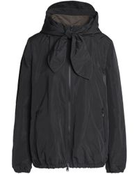 Brunello Cucinelli - Tie-front Bead-embellished Shell Hooded Jacket - Lyst