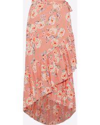 Love Sam - Ruffle-trimmed Floral-print Crepe De Chine Wrap Skirt - Lyst