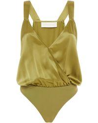 Michelle Mason Wrap-effect Silk-charmeuse Bodysuit - Green
