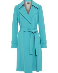 Theory Belted Crepe Trench Coat - Blue