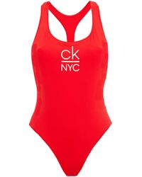 Calvin Klein Printed Swimsuit - Red