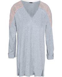 Cosabella - Woman Lace-trimmed Mélange Cotton-blend Jersey Pyjama Top Light Grey - Lyst