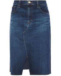 J Brand Trystan Frayed Denim Skirt Dark Denim - Blue