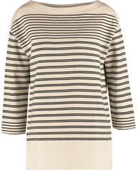 Vince - Striped Cotton-jersey Sweatshirt - Lyst