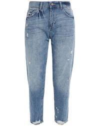 DL1961 Riley Cropped Distressed Mid-rise Boyfriend Jeans Mid Denim - Blue