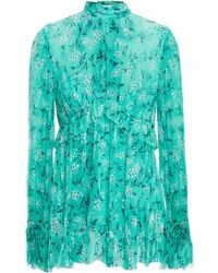 Zimmermann Ruffled Floral-print Silk-georgette Blouse Turquoise - Blue