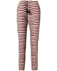 Figue Ali Printed Cotton-poplin Straight-leg Trousers Off-white - Red