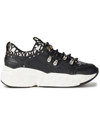 DKNY Glitter-embellished Logo-print Faux Leather Trainers Black